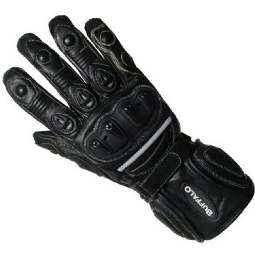 Buffalo Bay Ladies Leather Sports Motorcycle Motorbike Gloves - Black